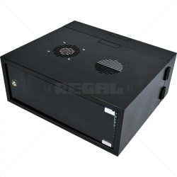4U 300 + 200mm Collar Swing Frame Wall Box incl Fans and Power Black