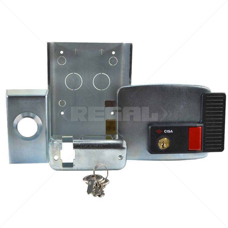 CISA Electric Rim Gate Lock Inward Open LHS with Push Button 12VAC