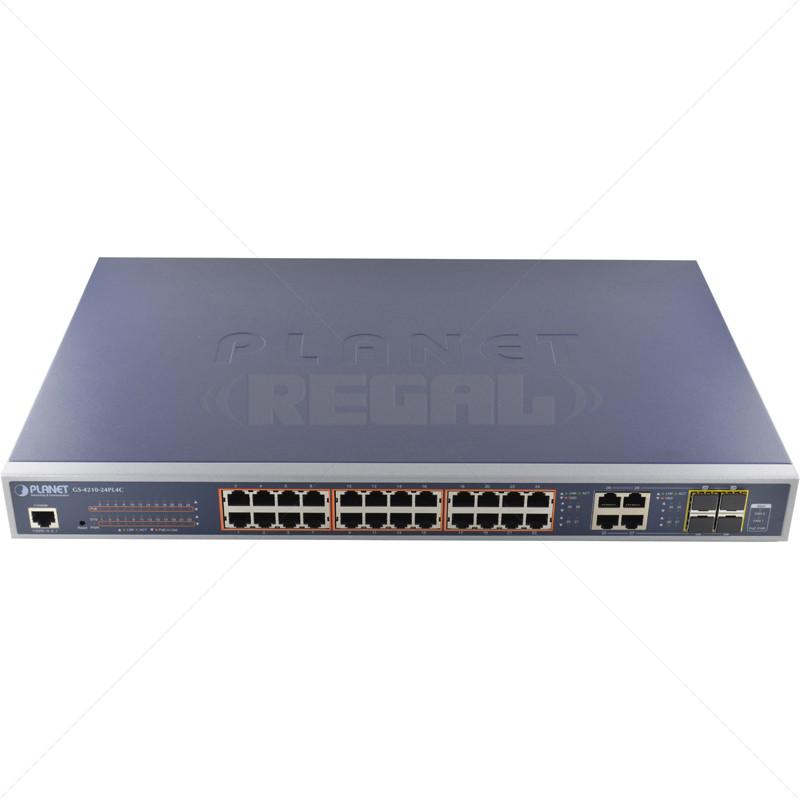 PLANET 24 Port  Gigabit Managed PoE + 4  Gb TP/SFP Uplink Switch