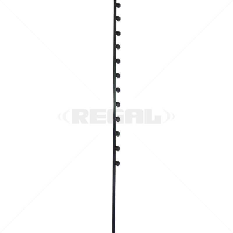 Fence Pole - 12Line Square Tube Straight Black