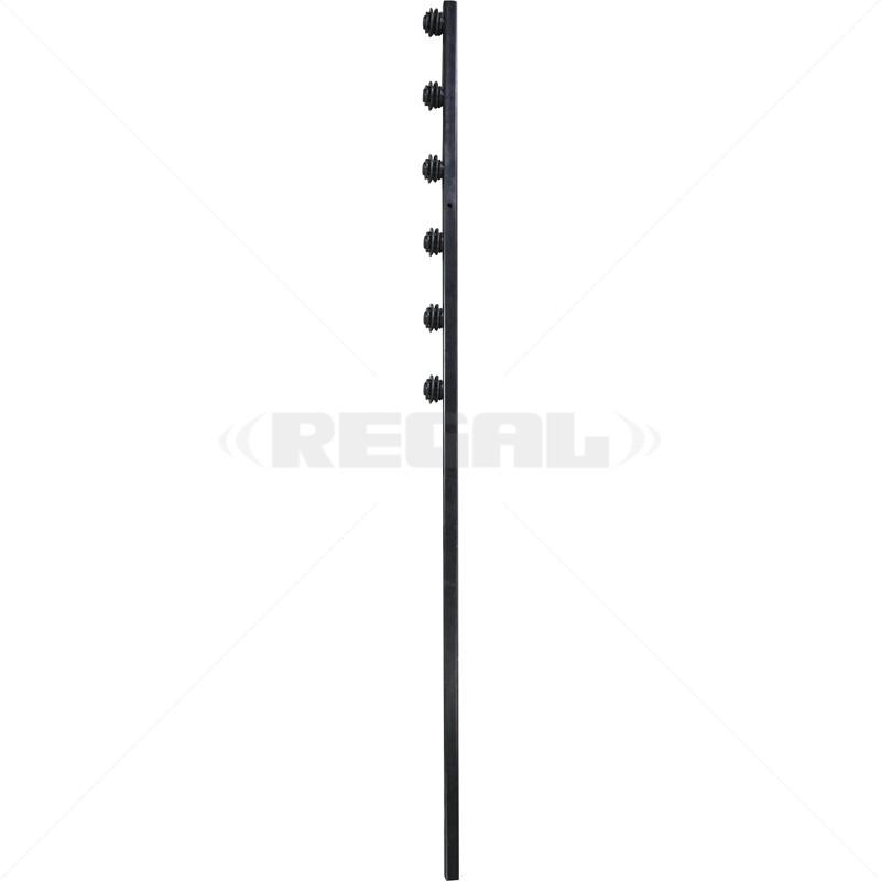 Fence Pole - 6Line Square Tube Straight Black
